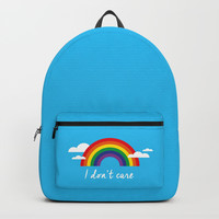 I dont care Backpacks by Estef Azevedo
