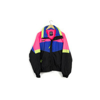 90s COLUMBIA neon ski jacket / vintage 1990s / windbreaker / parka / retractible hood / snow / rain / hot pink / yellow / mens medium