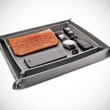 Parabellum Collapsible Bison Hide Valet Tray - $350
