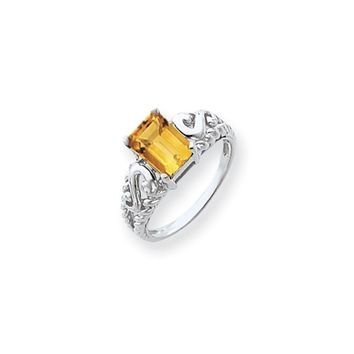 14k White Gold 8x6mm Emerald Cut Citrine Ring