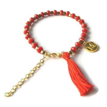 Red Initial Bracelet, Red Beaded Bracelet with Red Tassel and Gold Initial Charm, Gold Charm Bracelet, Red and Gold Bracelet