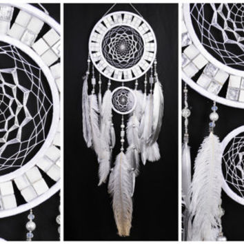 Wedding gifts Snow Dreamcatcher White mosaic Dream Catcher Large Dreamcatchers New Dream сatcher gift idea cat's-eye dreamcatcher boho gift