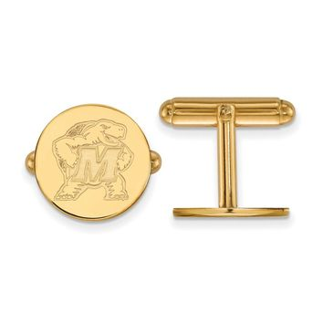 NCAA 14k Gold Plated Silver Maryland Cuff Links
