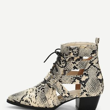 Snakeskin Print Lace Up Ankle  Boots