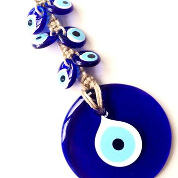 SALE large evil eye wall hanging - Evil eye wall hanging - nazar boncuk - evil eye wall decor - nazar bead - large evil eye macrame wall han