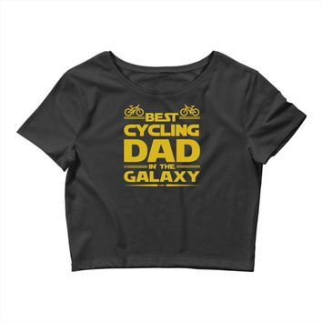 best cycling dad galaxy cycling Crop Top