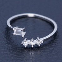 Simple fashion  zricon 925 sterling silver opening ring,a perfect gift
