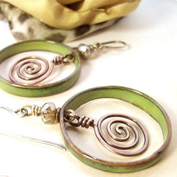Wire Wrapped Jewelry Handmade Artisan Earrings Hammered Copper Enameled Copper Earrings Mixed Metal Jewelry Earrings Handmade Metal Earrings