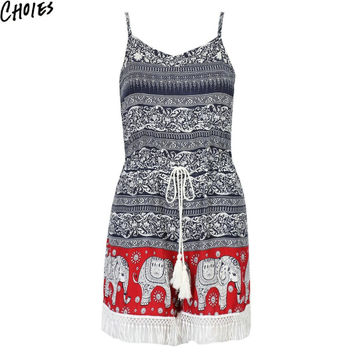 Women Multicolor Ethnic Elephant Print Tassel Hem Tie Waist Tribal Romper Playsuit Summer New Fashion Sexy Elegant Jumpsuit