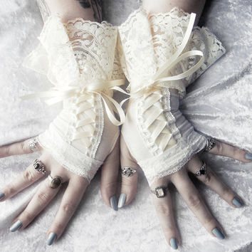 Timeworn Maiden Victorian Corset Laced Up Fingerless Gloves Ivory Cream Lace - Bridal Wedding Lolita Gothic Shabby Chic Boho Goth Mori Girl