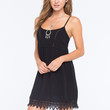 Socialite Lace Trim Dress Black  In Sizes