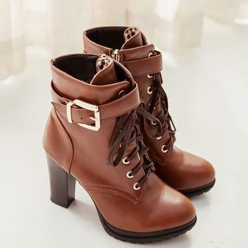 New Women Brown Round Toe Chunky Buckle Casual Ankle Boots