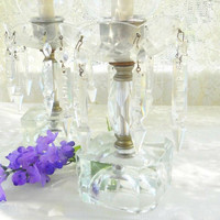 Elegant Antique Glass Mantle Lusters, Set of 2, Victorian, French Shabby Chic, French Farmhouse, Cottage Style