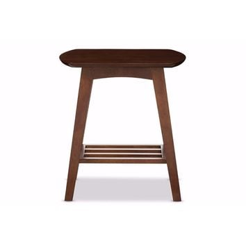Sacramento Mid-century Modern Scandinavian Style Dark Walnut End Table By Baxton Studio