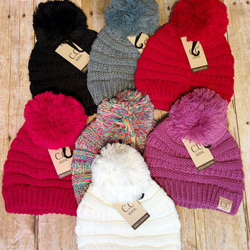 Childrens CC Pom Beanies - Multiple Colors