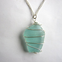 Turquoise Beach Sea Glass Wire Wrapped Necklace