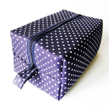 Navy Blue Polka Dot Box Bag,Cosmetic Bag,Makeup Bag,Toiletry Bag,Lunch Bag,Knitting Bag,Diaper Bag Gift For Her,Girls,Women,Mothers