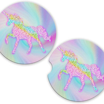 Unicorn Pastel Glitter Car Cup Coaster, Personalized Monogrammed Cup Holder Coaster, Custom Auto Gift, Sandstone Coaster, gift for her