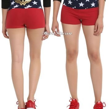 Licensed cool DC  Wonder Woman Red and Navy FoldOver Star Print Yoga Stretch Shorts M-L