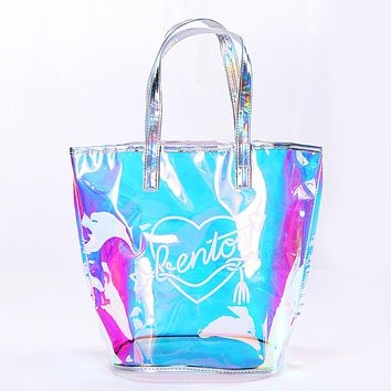 Bentoy New Fashion Casual Girl Large Capacity Tote Hologram Laser Shoulder Bag Shopping Bag Summer Beach Ladies Bags Women