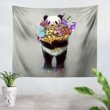 Pandas Got Flowers For You Tapestry