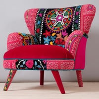 Suzani armchair - red fever