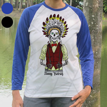 Native American Indian Skull Baseball Shirt Danny Hatrick Indian Skeleton T Shirt Trendy Hipster Indian