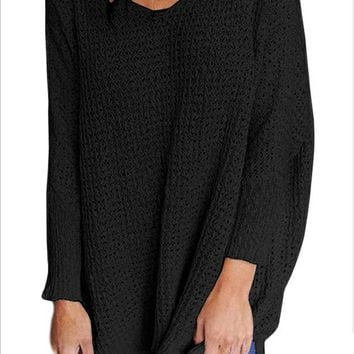 Black V-Neck Sweater Knit Shirt