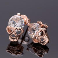 1Pair Women Fashion Cool Skull Pierced Earring Gold Plated Zircone Ear Stud