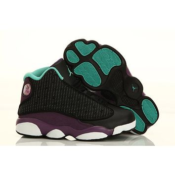 Nike Kids Air Jordan 13 Retro Black/Purple Sneaker Shoe US 11C - 3Y