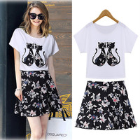 White Kitty Patchwork Shirt and Black Floral Print Mini Skirt