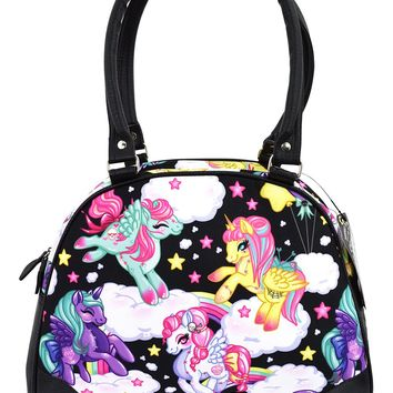 Liquorbrand Rockabilly Lolita Rainbow Unicorns Pony Bowler Bag - Pegasus