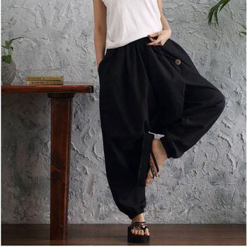 Women Pants Cross Pants Large Size Wide Leg Pants Dancing Pants Sashes Casual Trousers Big Botton Linen Cotton Solid Color Pants