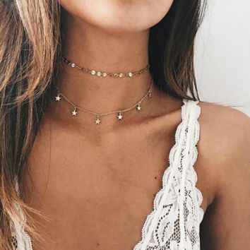 2017 Multi Women star Gold Chain coin Choker Necklace chocker Jewelry collana Bijoux Femme Joyas mujer Collier ras du cou