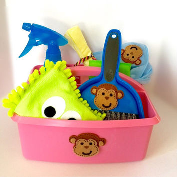 Pretend Play Cleaning Kit Toy for Toddler with Kids Broom- Monkey Design