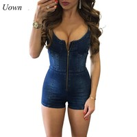 Uown Women Blue Denim Playsuit Spaghetti Strap Front Zipper Backless Sexy V-Neck Jeans Shorts Jumpsuits Casual Overalls Female
