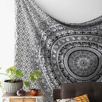 Shopnelo   Elephant Mandala Hippie Tapestry Indian Traditional Throw Beach Throw Wall Art College Dorm Bohemian Wall Hanging Boho Twin Bedspread (1, Black &White 1)