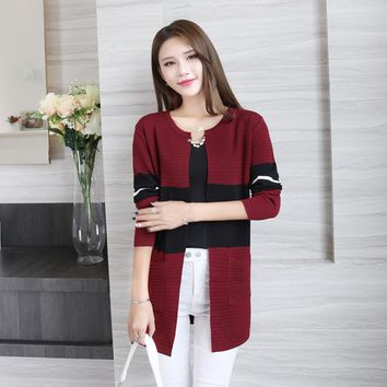 Women Elegant Autumn Patchwork Cardigan Fashion Brief Knitted Pockets Cardigans Sweaters Rebecas Mujer women winter clothes
