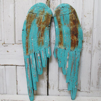 Distressed aqua angel wings wall decor rusty French Santos inspired hand painted distressed inspired home decor Anita Spero Design