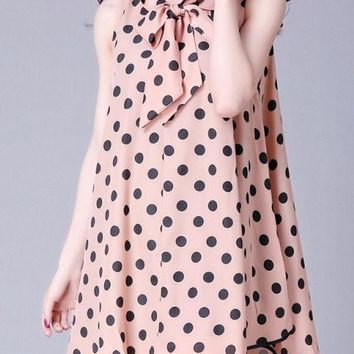 Casual Tie Collar  Contrast Trim  Polka Dot  Chiffon Shift Dress