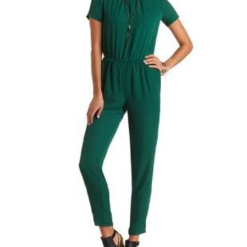 Short Sleeve Open Back Chiffon Jumpsuit by Charlotte Russe - Emerald