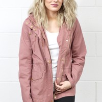 Throw It On Utility Jacket {Mauve}