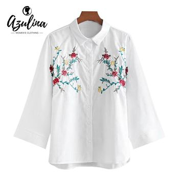AZULINA Autumn Floral Embroidered Batwing Loose Shirt Blouses 2017 Casual White Shirt Cotton Polo Shirt Collar Bluas Femme