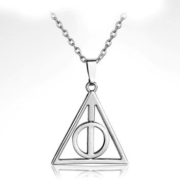 Vintage Pendant Necklace Rotate Deathly Hallows Friendship Valentine Gift Best Friend Necklace Jewelry Unisex Accessories