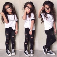 "Toddler Girls T-Shirt and Black Ripped Pants Set ""On Point"" 2PCS Sizes 3T to 7"