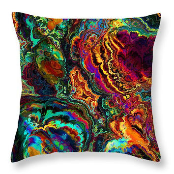 Decorative accent throw pillow, colorful enamel look abstract, contemporary modern look home decor