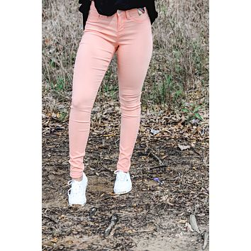 YMI Hyperstretch Mid-Rise Skinny Jeans - Peach