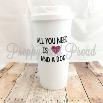 Pet Owner Thermal Coffee Tumbler 15oz, Dog Lover, Dog Decal, Pet Decal, Monogrammed Decal, Decal, Coffee Tumbler, Insulated Tumbler