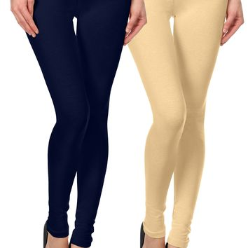 2 Pk Cotton Jersey Leggings for Women Skinny Fit Ankle Length Legging Tights