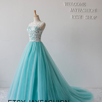 2015 New fashion prom dress White Lace High neck Mint Green wedding Gown Long evening formal dress homecoming party dresses prom dresses